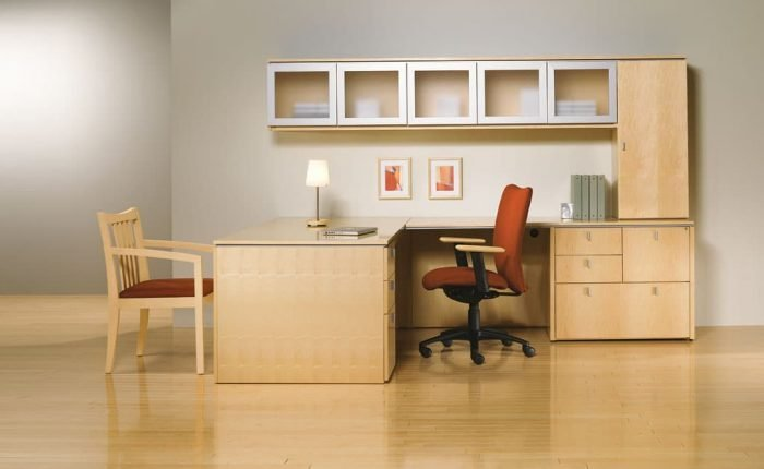 Danish-style executive desk in clear maple