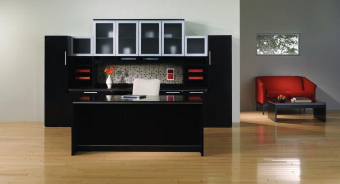 Danish-style executive desk in walnut espresso