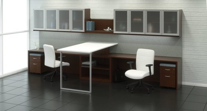 Gesso Office sit-to-stand desks and Casegoods by Indiana Furniture