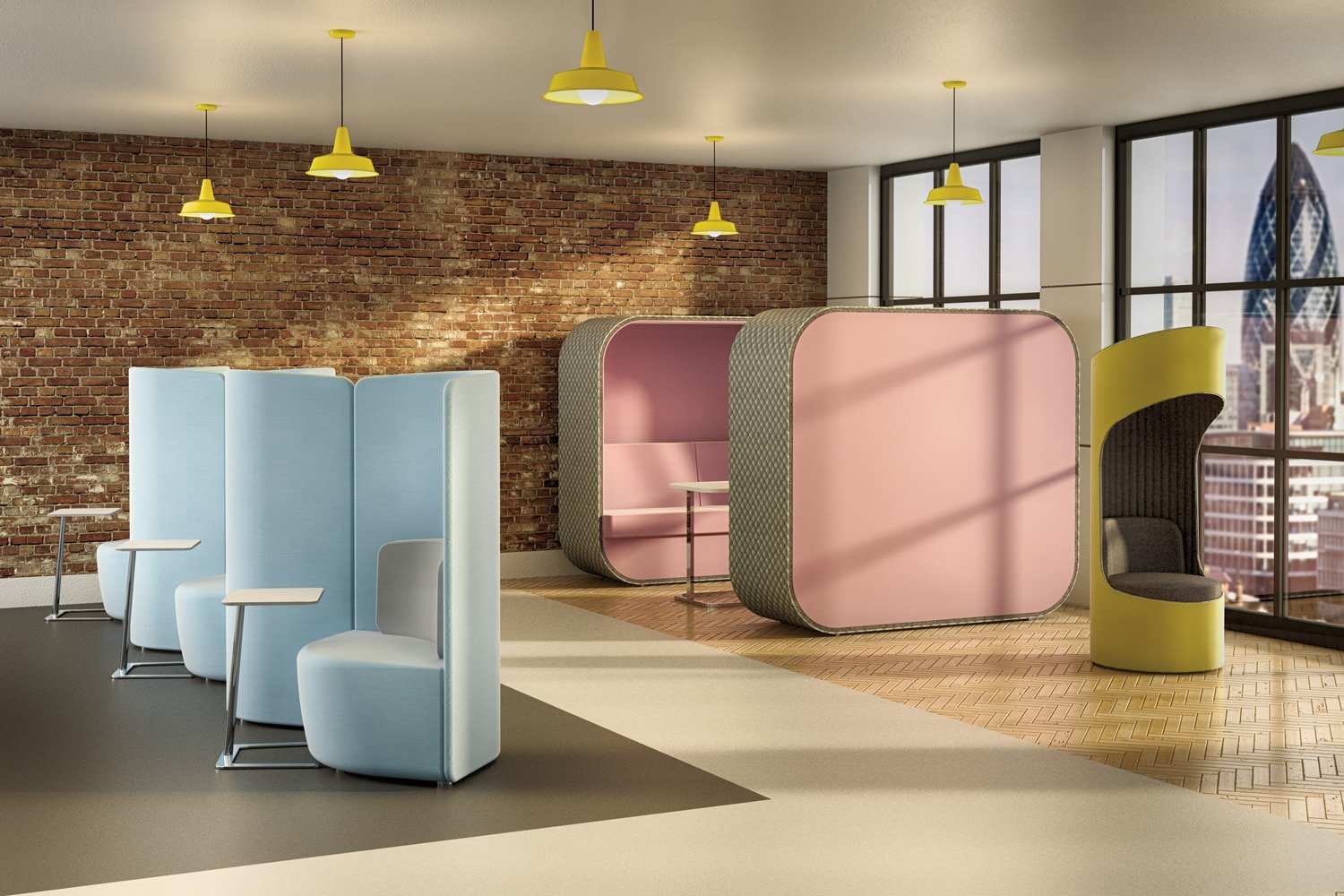modern reception communal area with pastel blue and pink accents