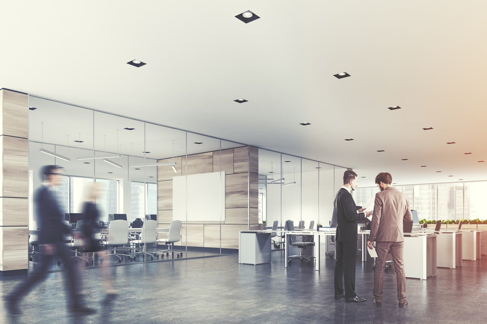 Two conference rooms with glass and wooden walls and an open space open office area. A poster, business people. 3d rendering mock up toned image