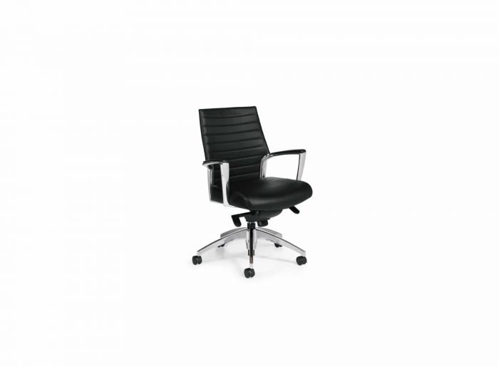 black leather modern conference or executive chair