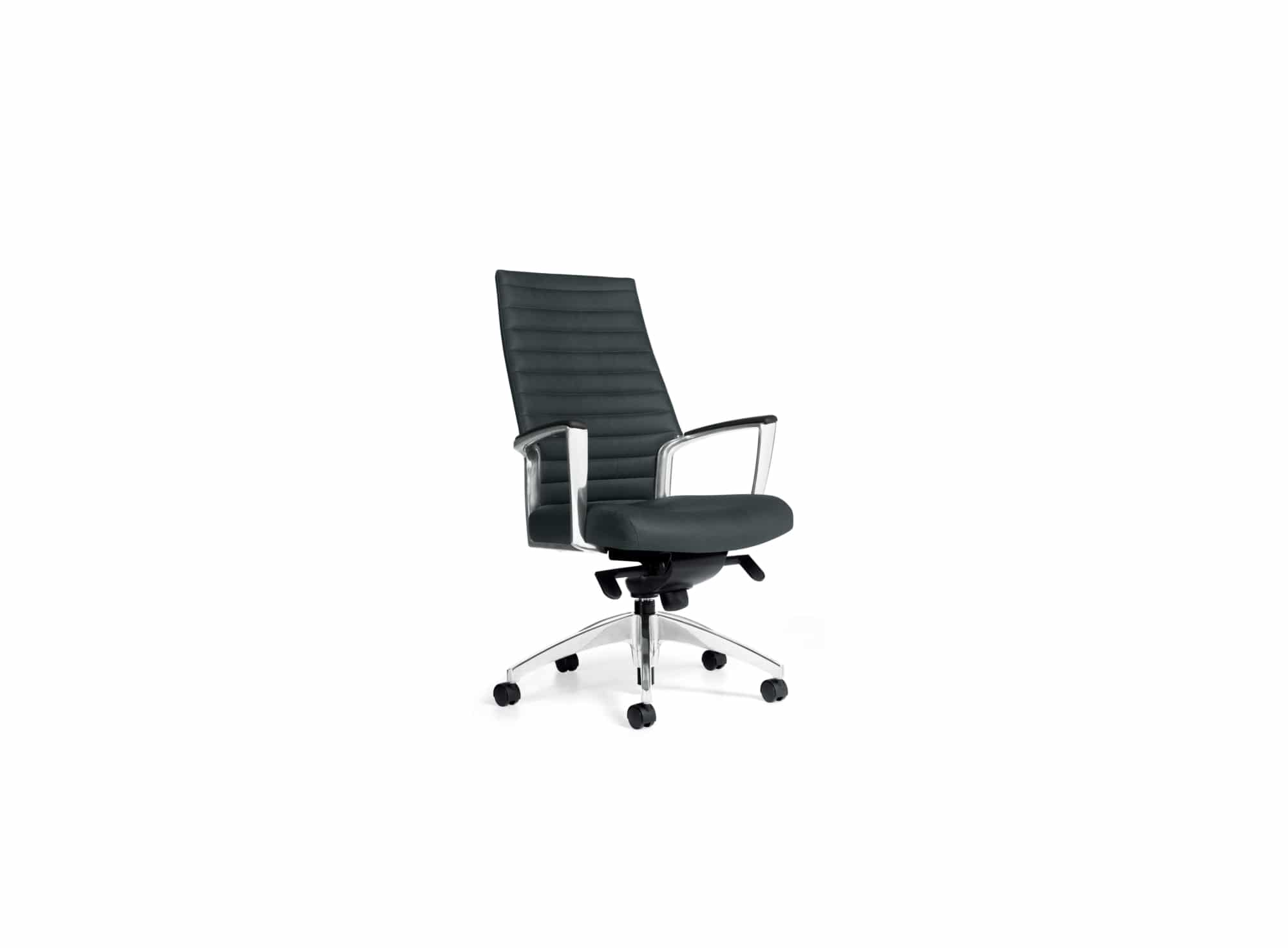 black conference room chair with white background
