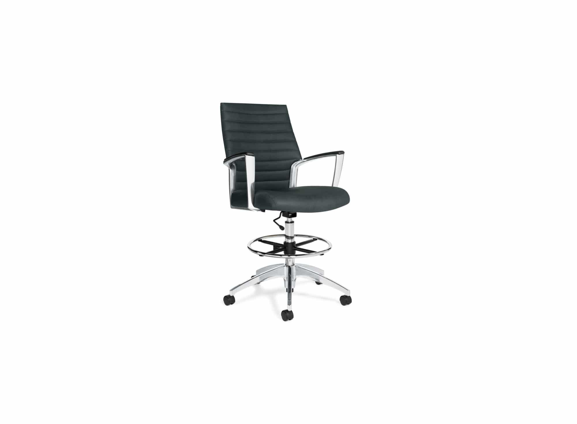 black modern drafting stool