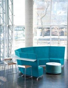 Aqua colored modern reception area