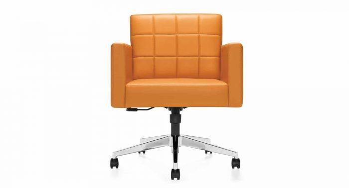 modern orange office chair with wheels