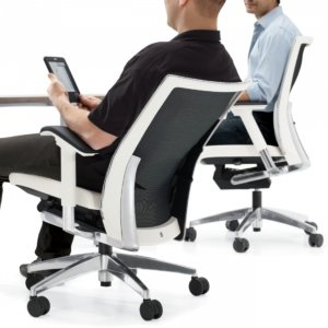 Two Men Leaning Back in an ergonomic task chair