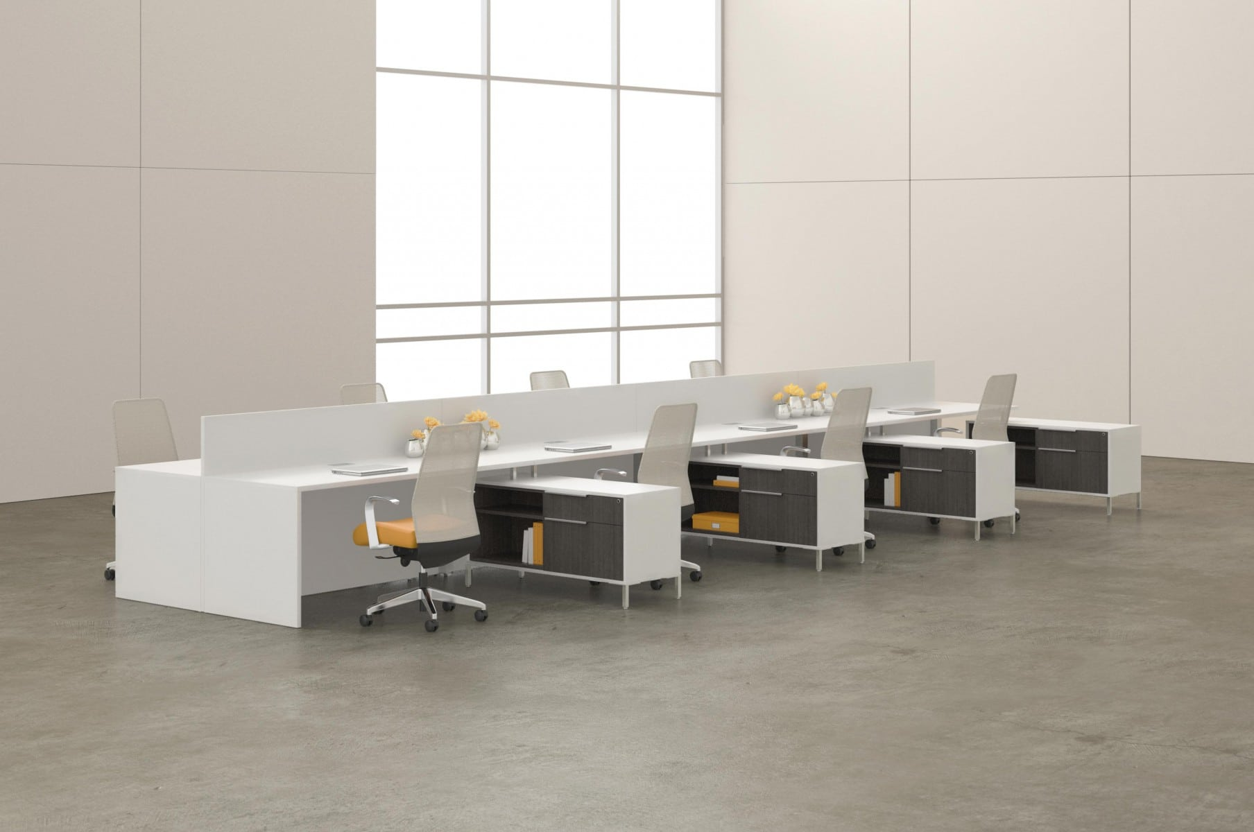 modern bench cargo hub desking in a large open room office setting