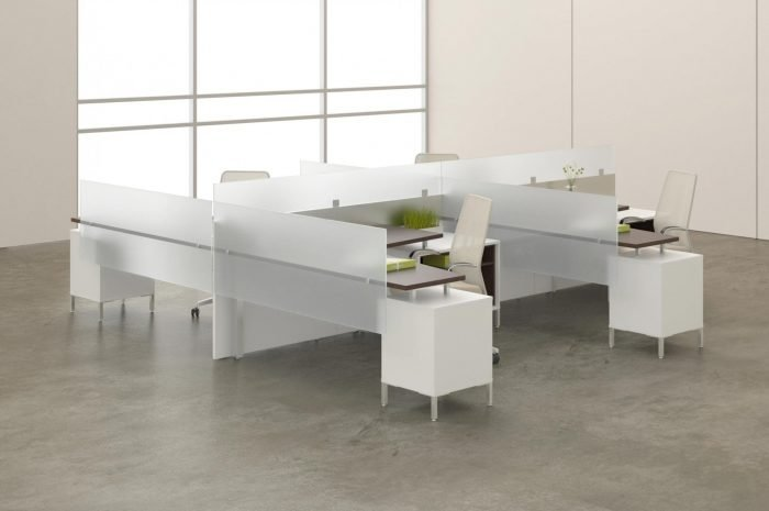 modern office desk furniture system with lime green accents and opaque panels
