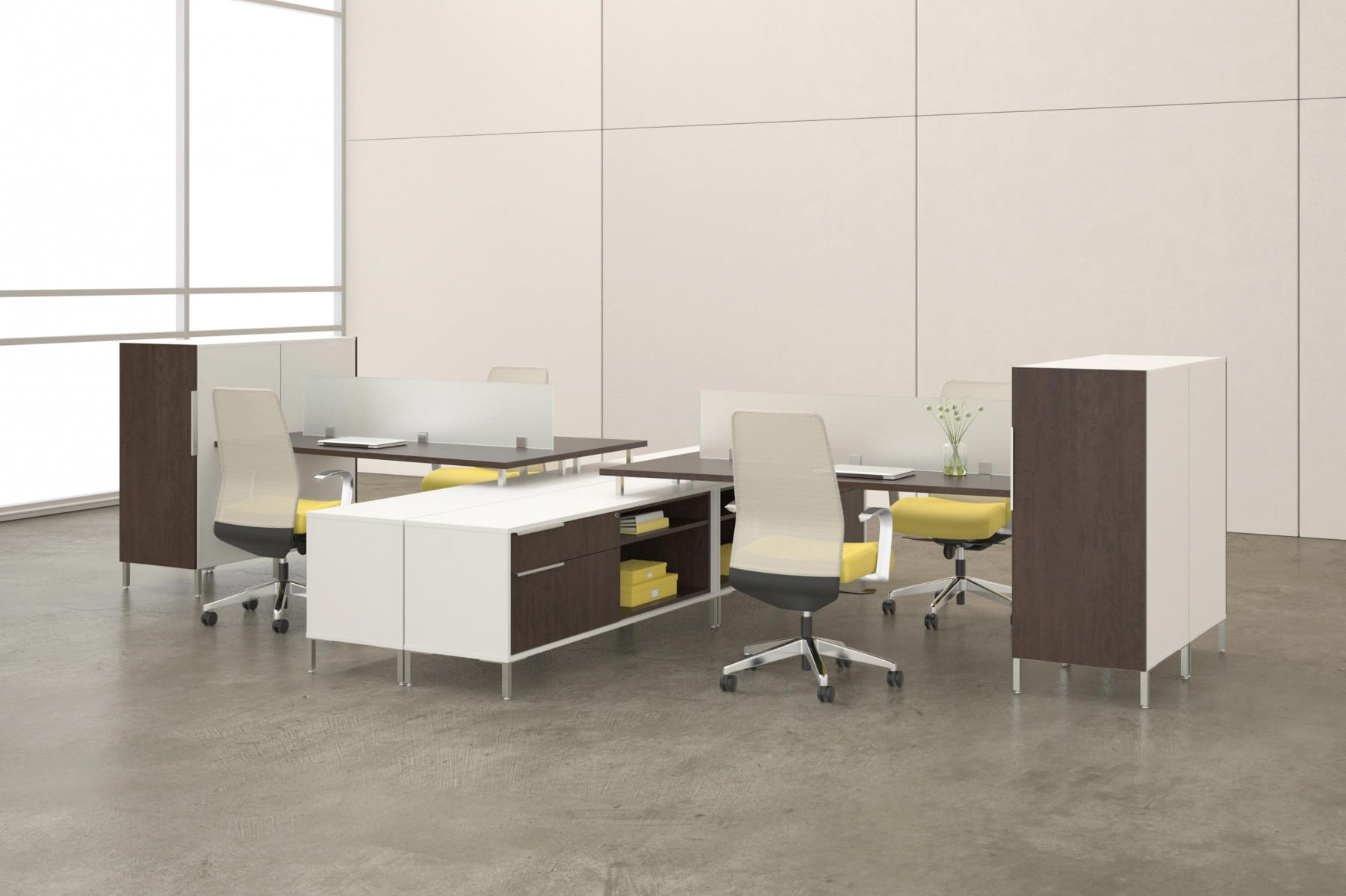 modern office desk furniture system with yellow and wood accents