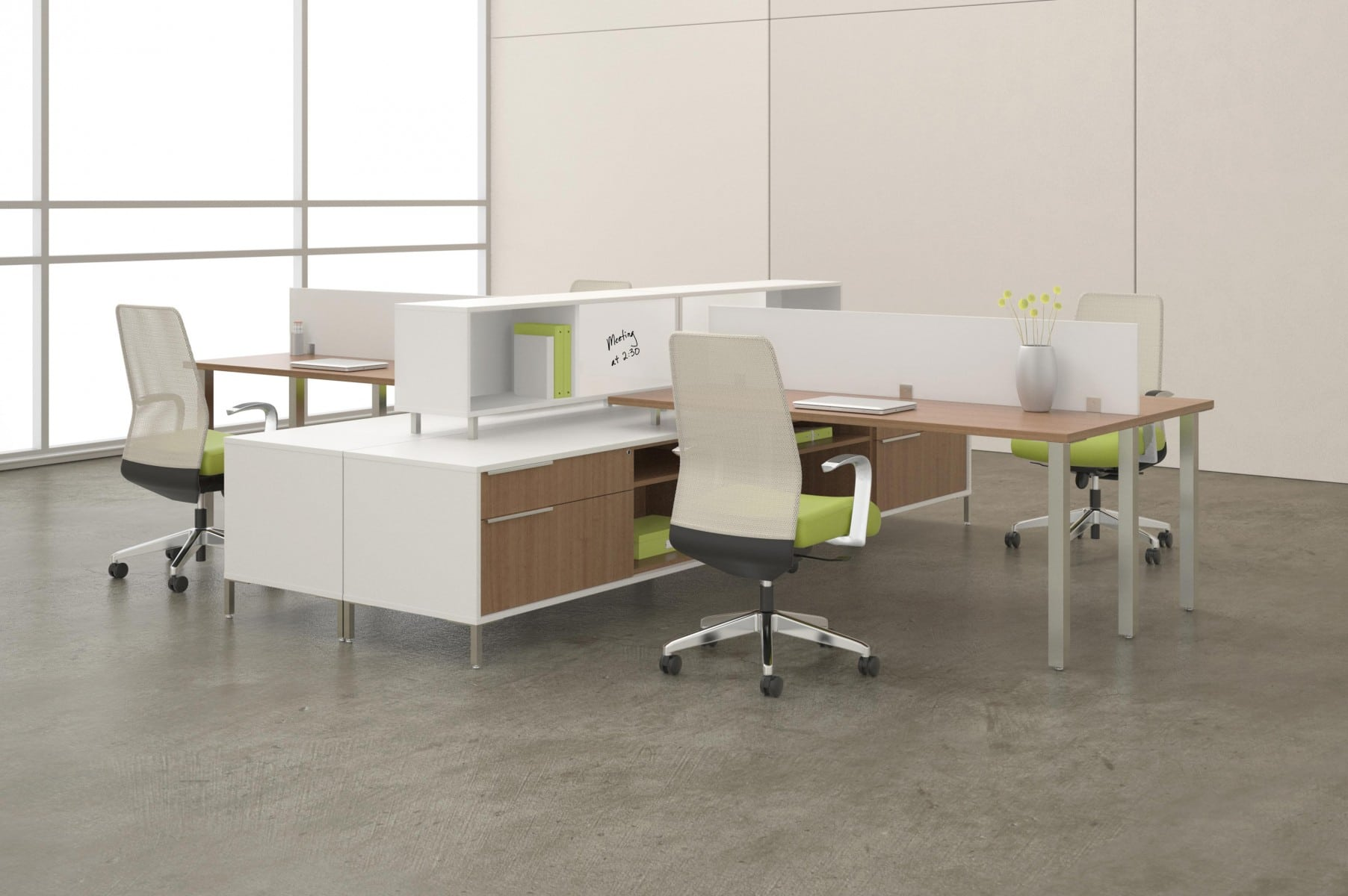 modern office desk furniture system with green accents and light wood