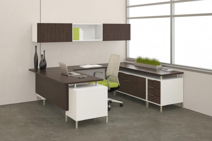 modern office desk furniture system with lime green accents
