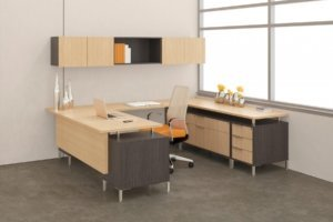 modern office desk furniture system with orange accents and light wood