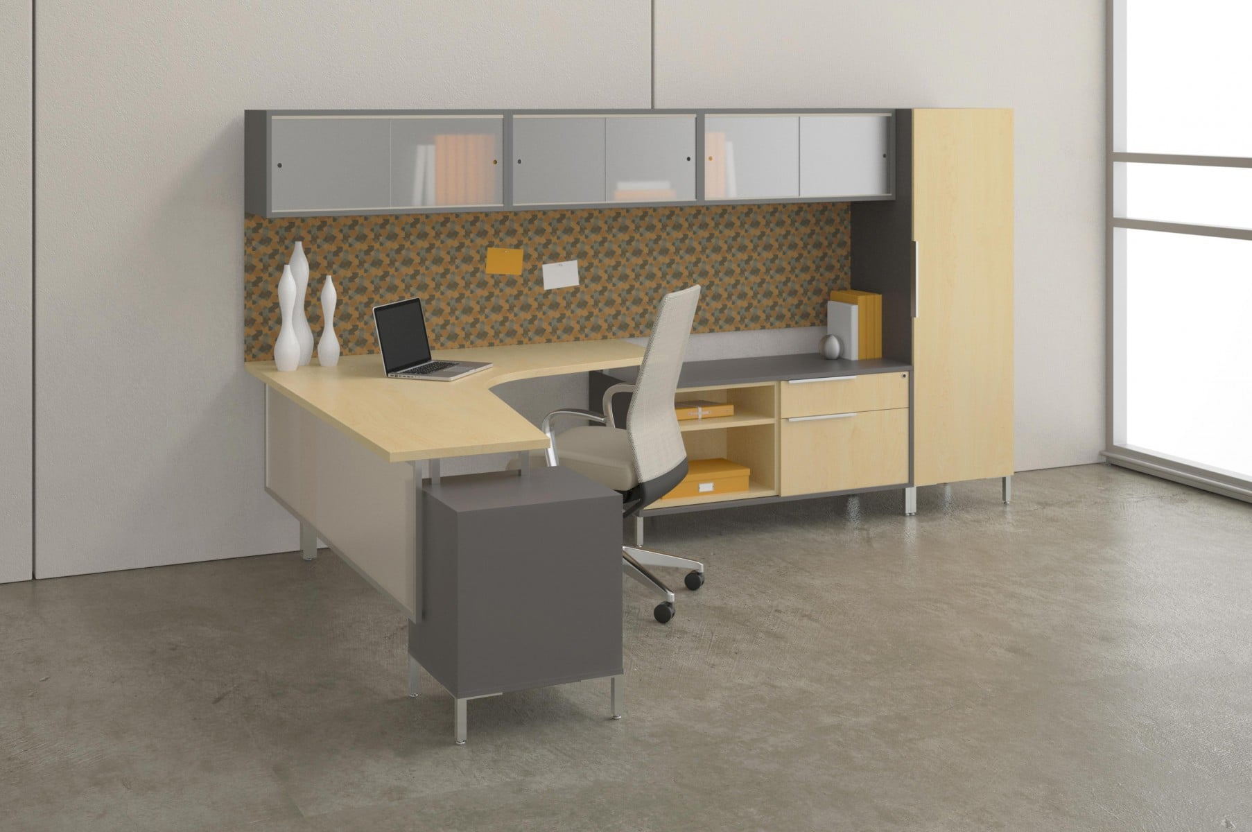 modern office desk furniture system with light wood hues