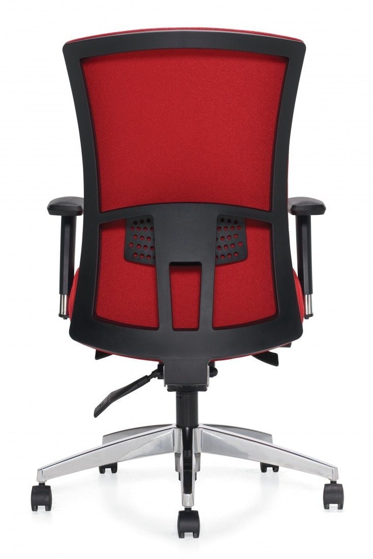 lumbar support on back of red task chair