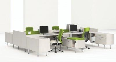 Modular White Modern Benching System Desk