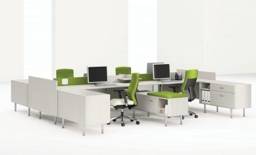 modular white modern benching system