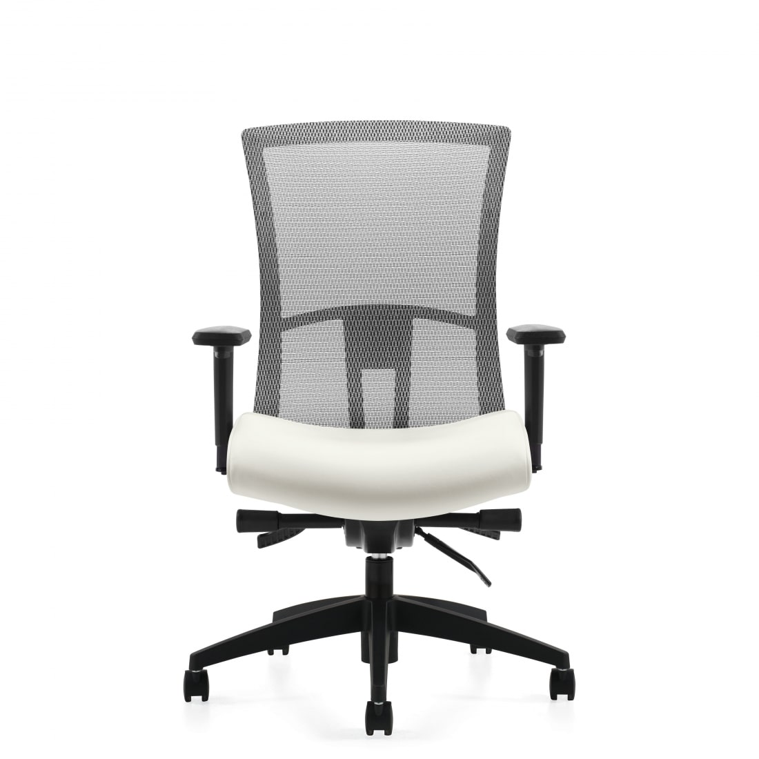 mesh back task chair with white seat