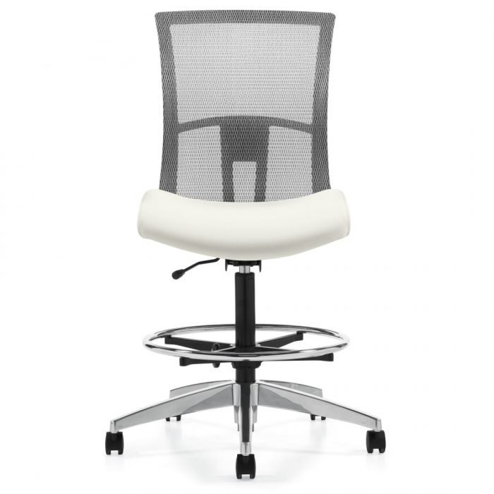 mesh back drafting chair with white seat