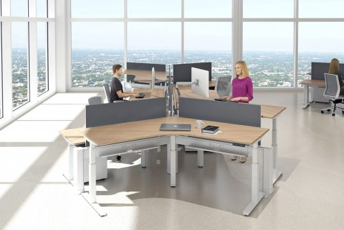 ACTIVE height adjustable table desk with two people working