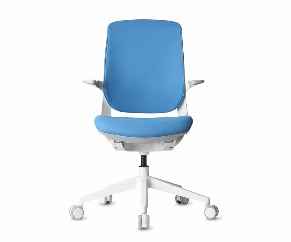 white modern office task chair with light blue cushion