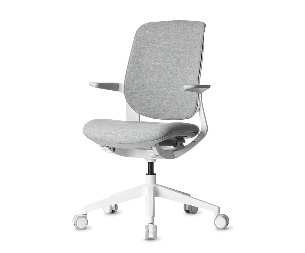 white modern office task chair with light grey cushion