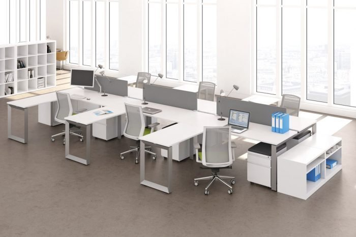 modern bench desking in metal grey and white