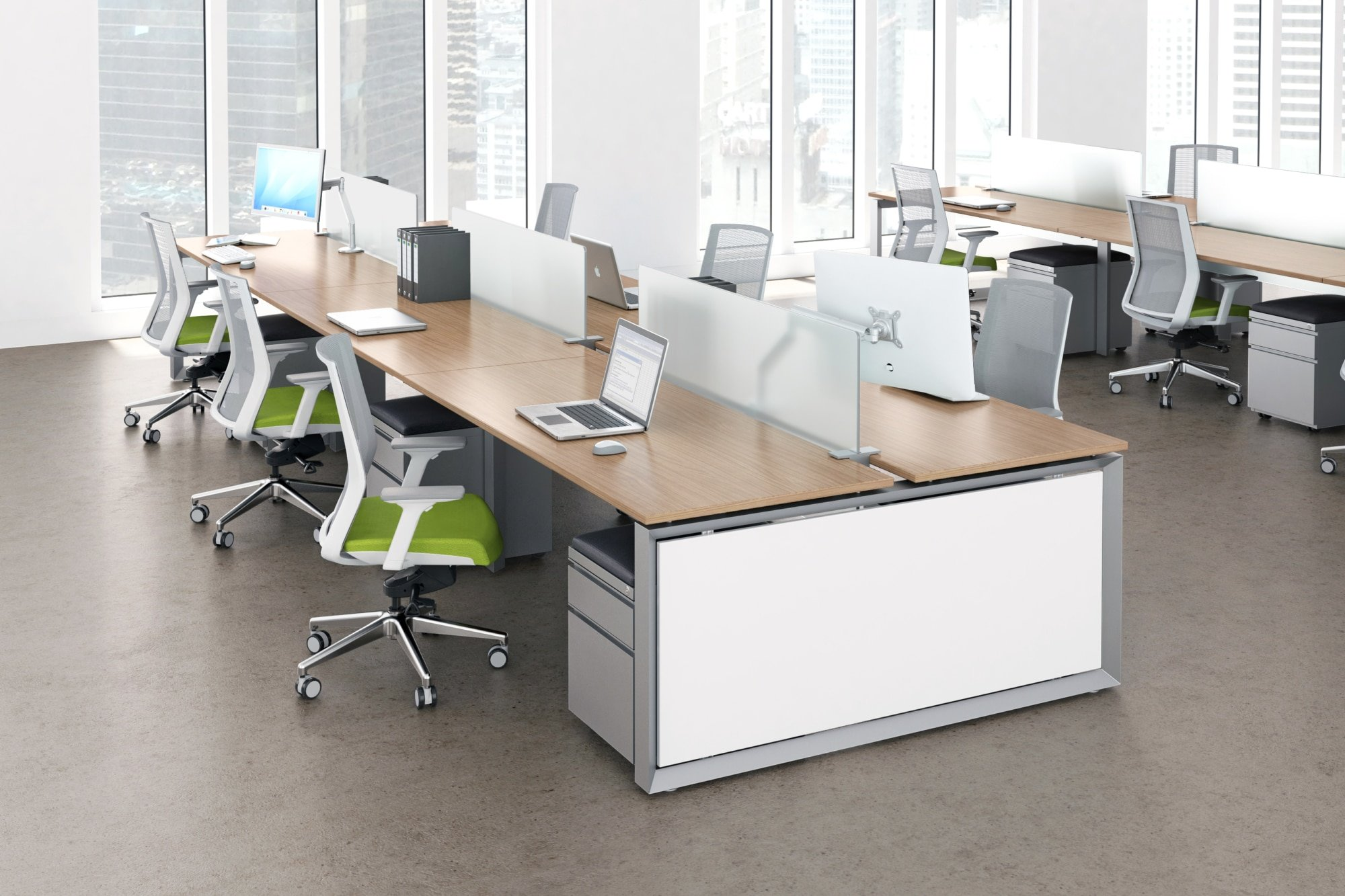 modern bench desking in metal grey and white with light wood top