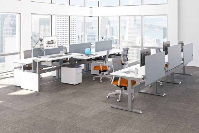 Height adjustable desks with white base and white top