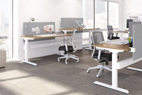 Height adjustable benching with white base and wood top