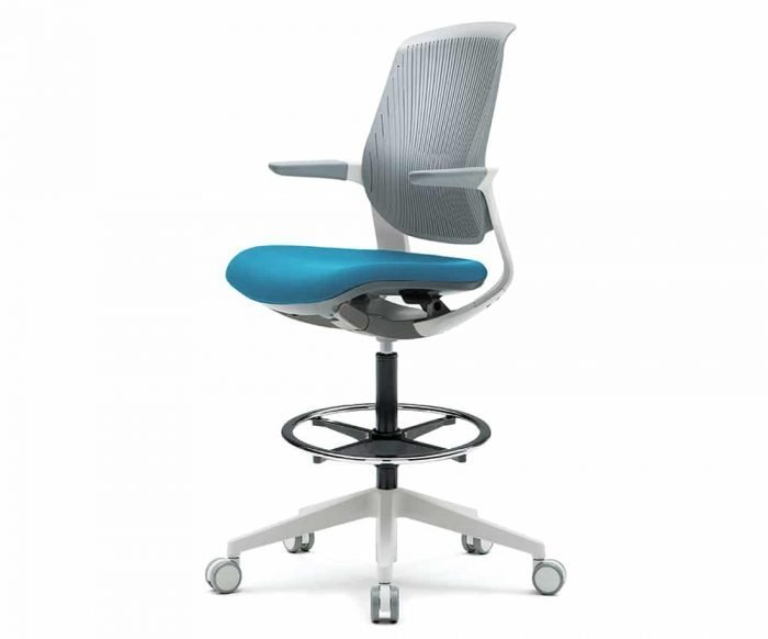 white modern drafting task chair with light grey top cushion and light blue bottom cushion