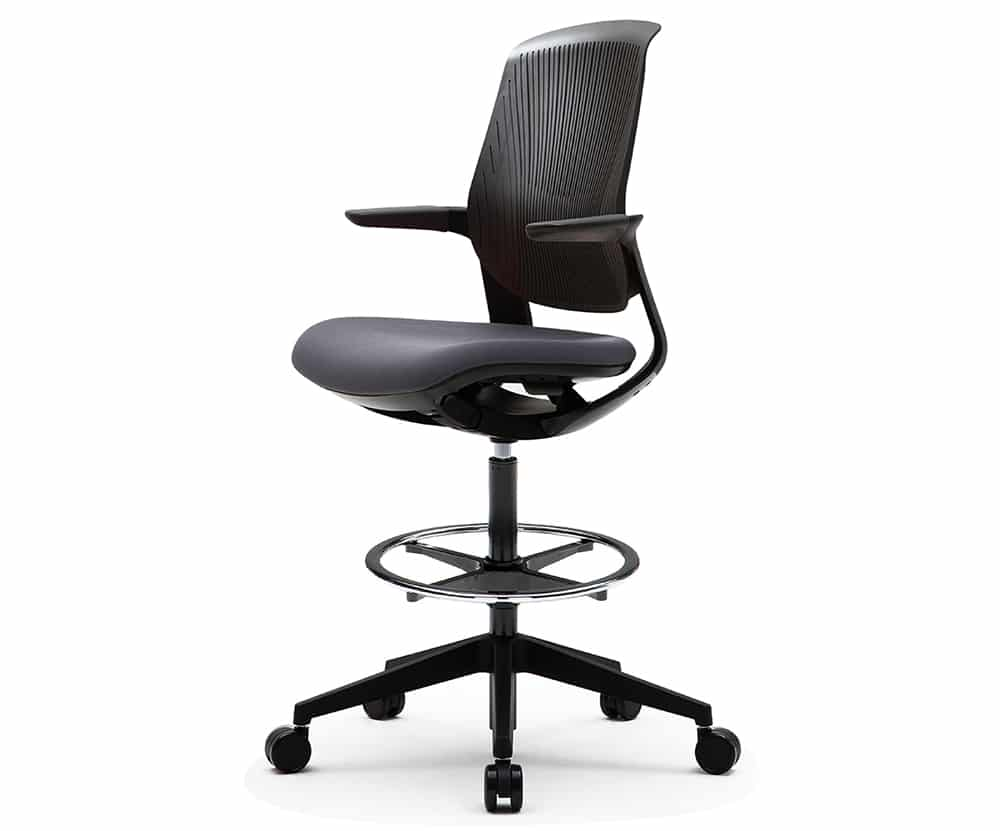black modern drafting task chair with black cushion