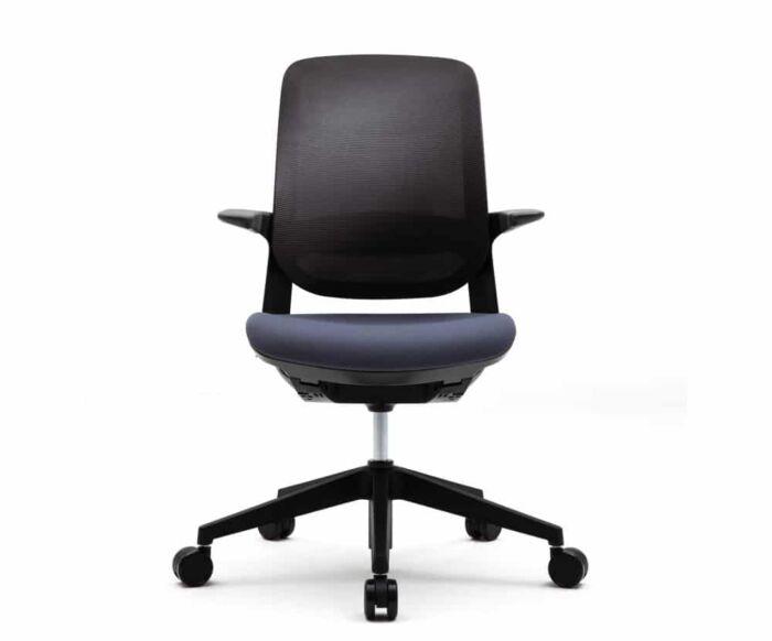 black modern office task chair with dark purple cushion