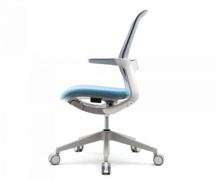 white modern drafting task chair with light blue bottom cushion