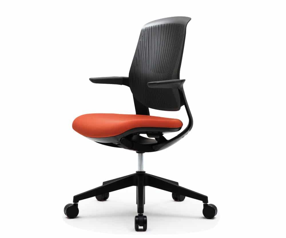 black modern office task chair with orange cushion