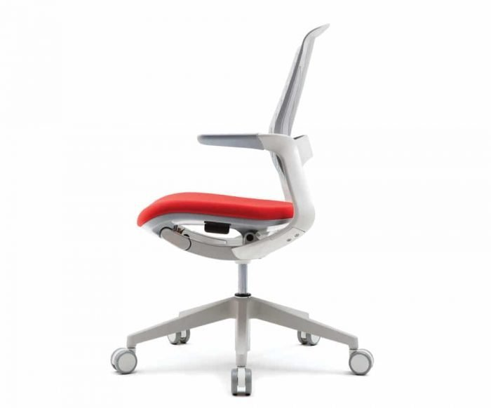 white modern office task chair with light grey top cushion and red bottom cushion