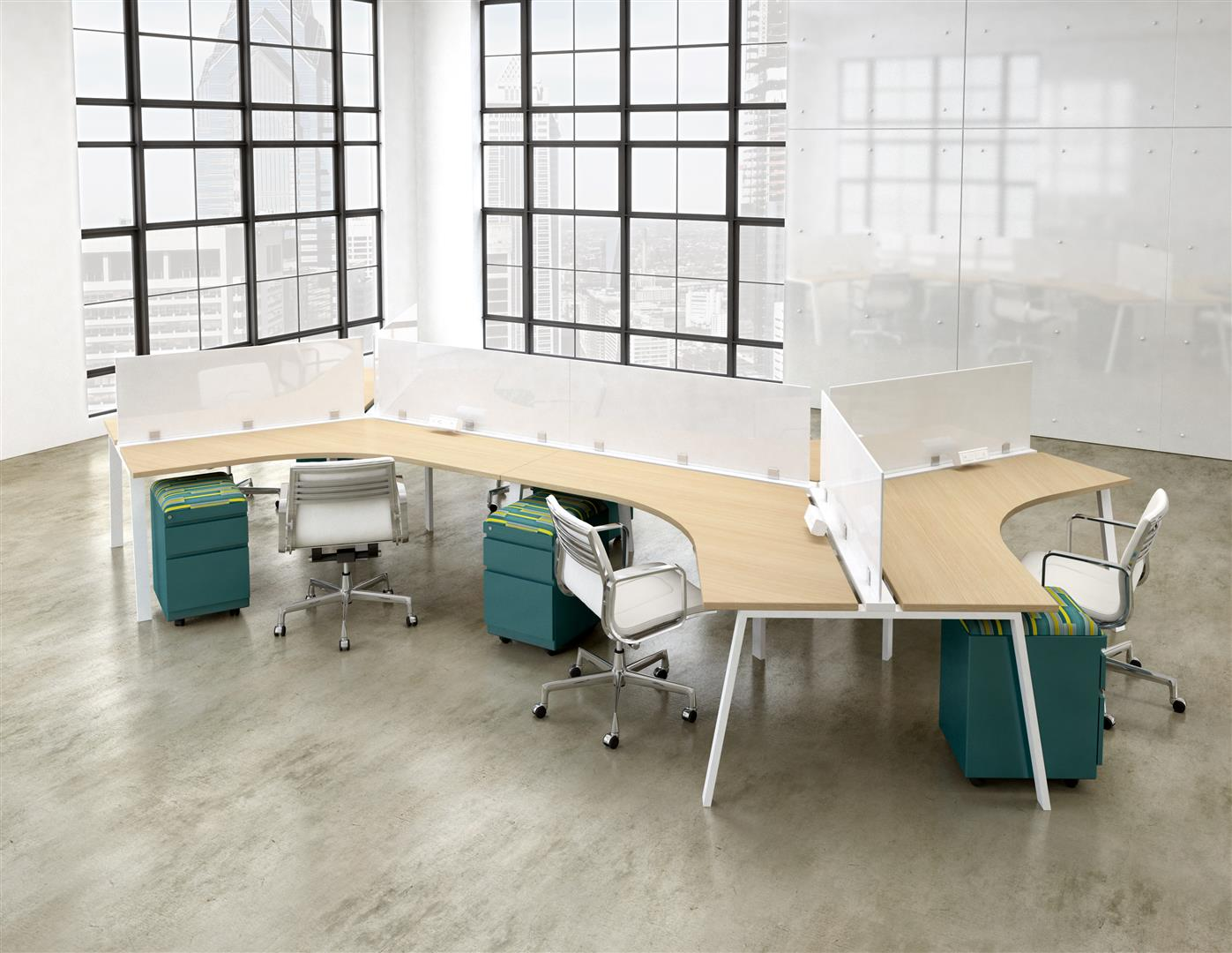 open office bench desking in window filled office