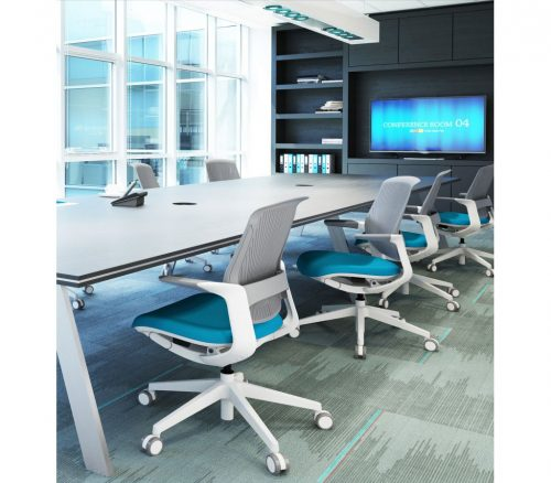 modern task chair with light blue cushion in a conference room
