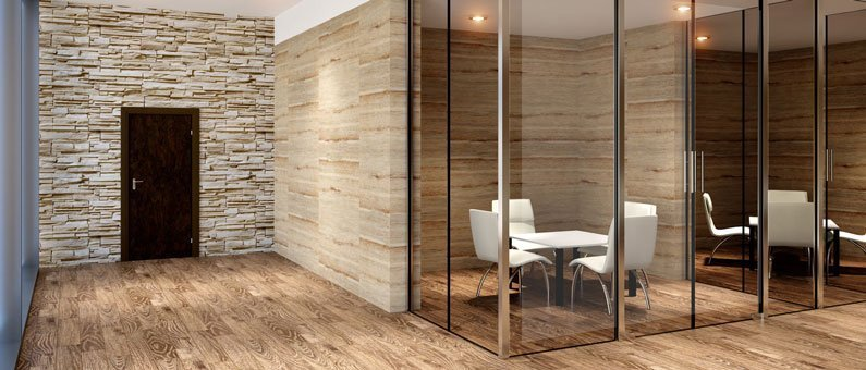 glass walls in modern office space