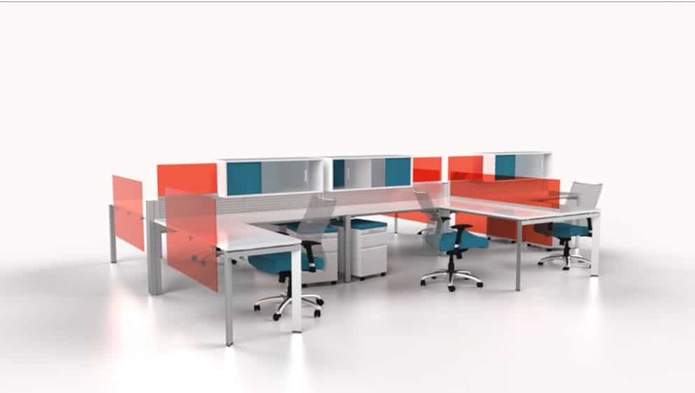 modern cubicle desking with brightly colored panels