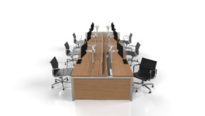 bench desks or table desks in a row