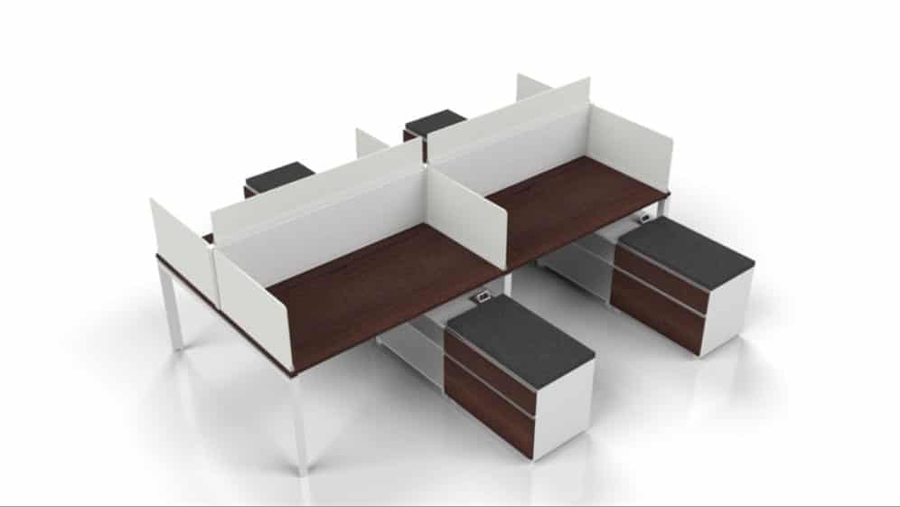 modern desking with panels and storage