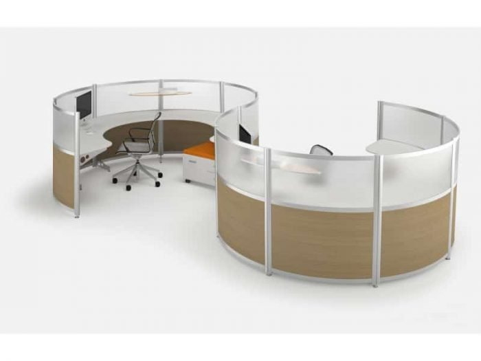 rounded paneled workstations