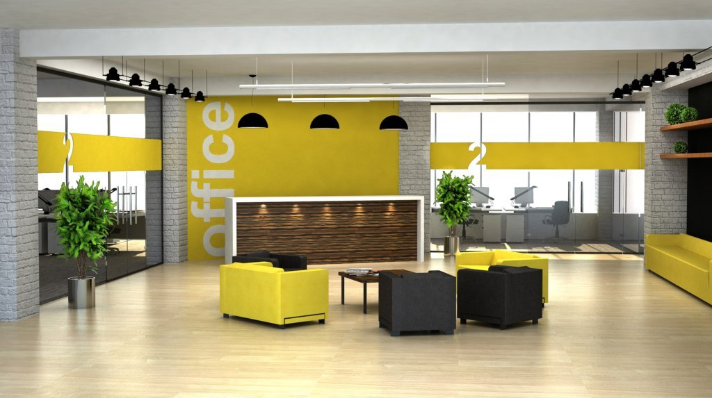 office reception area with yellow and grey accents