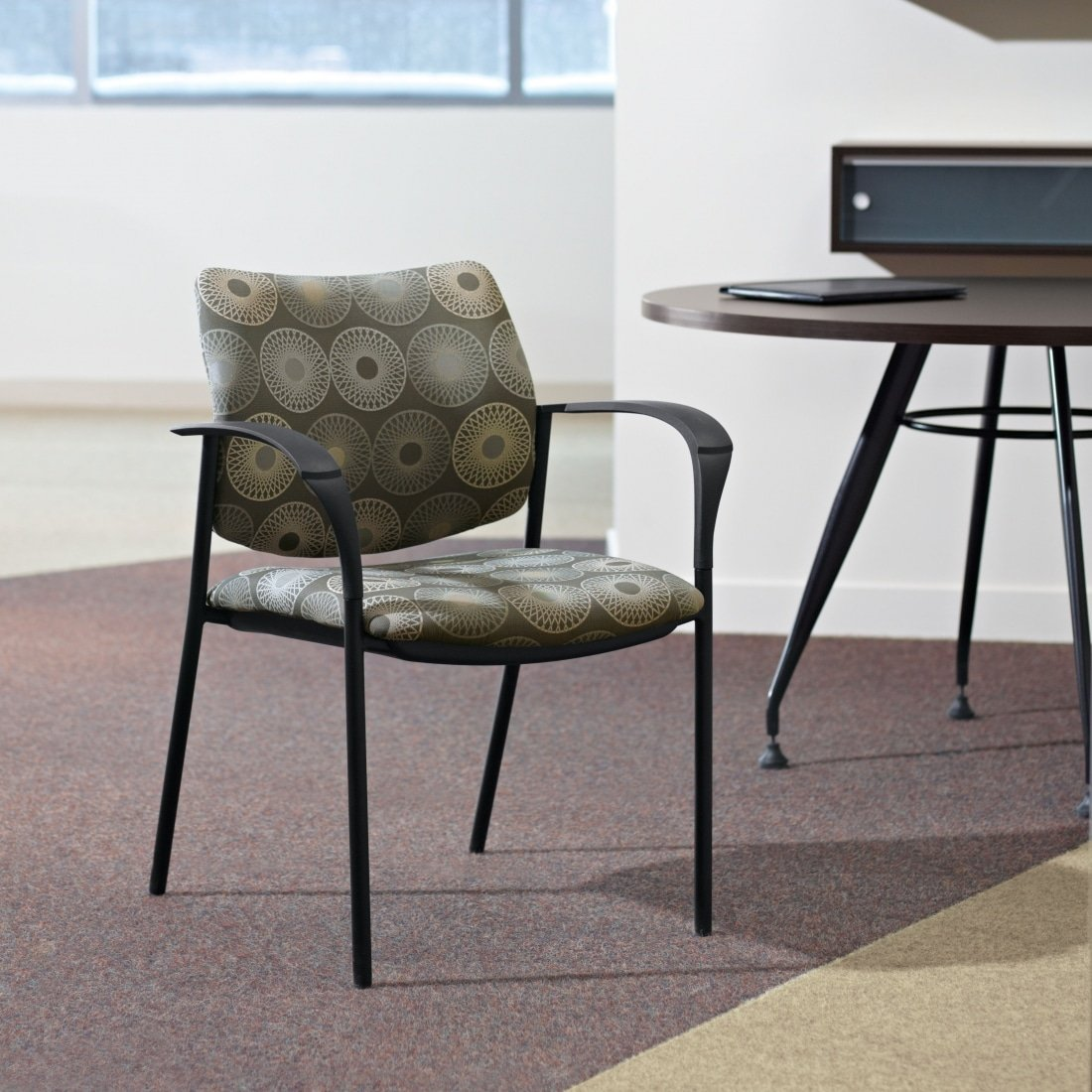 Sidero Multi-Purpose Guest Chair with arms and custom upholstered fabric