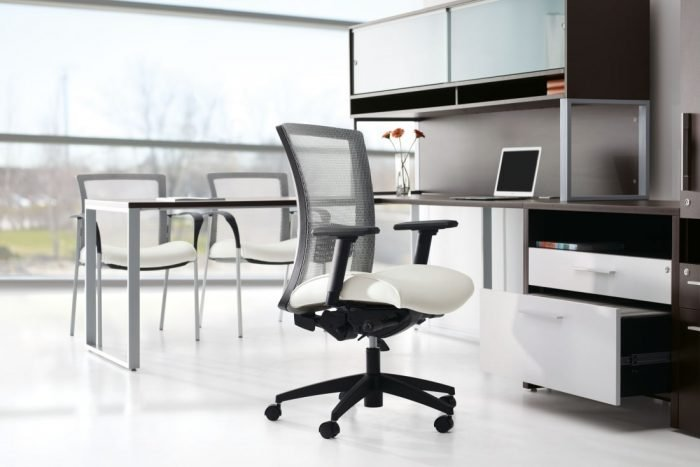 Vion Mesh Transitional Chair with white upholstered seat cushion