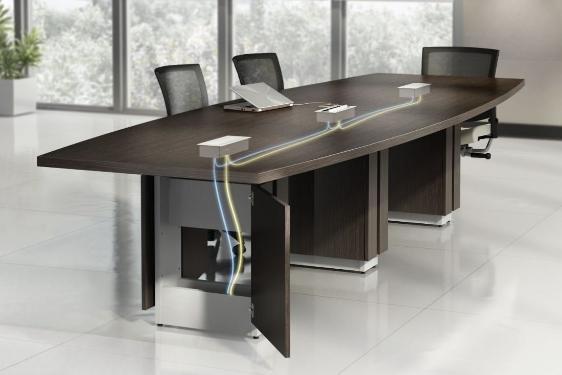 Modern conference room with wire control collaborative Collaborative office interiors houston
