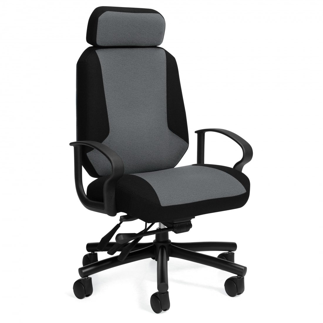 Robust Heavy Duty 24 Hour Chair in Grey and Black Upholstery