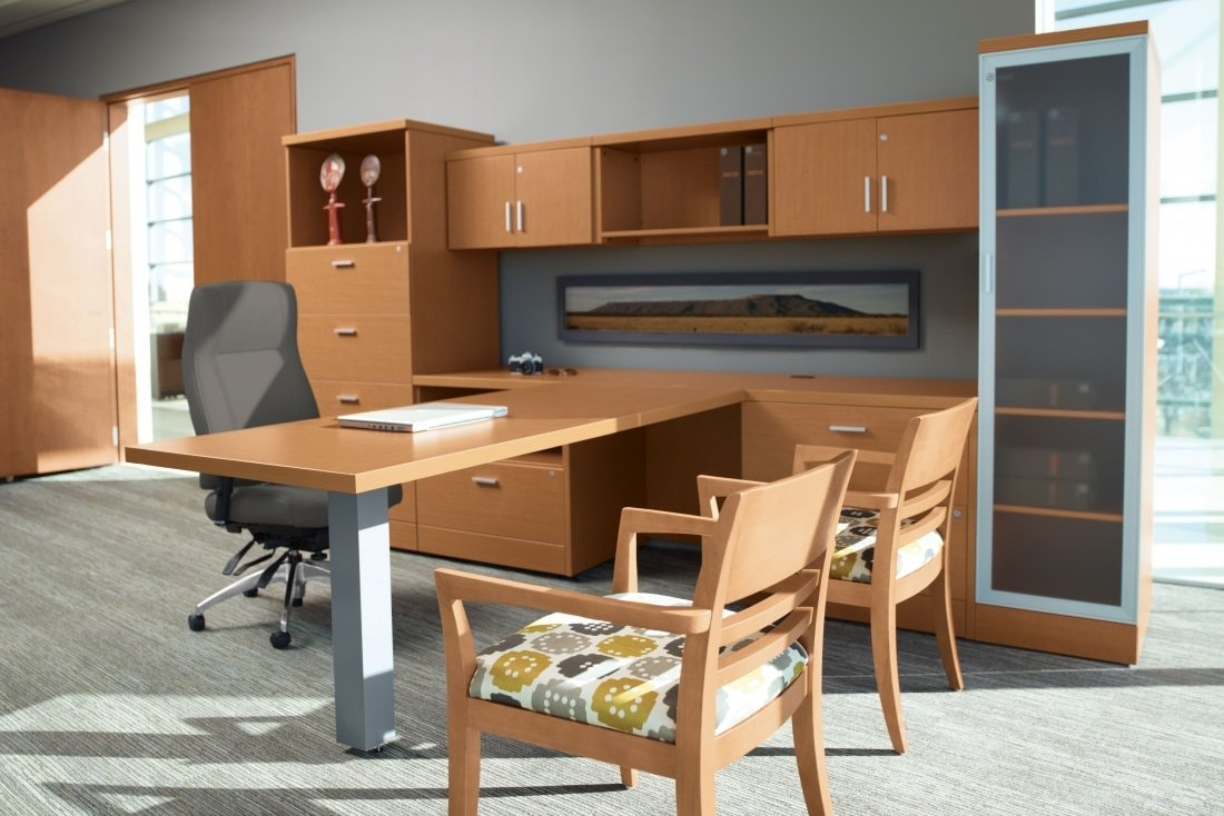 modern dual laminate desking workstation office suite in light maple finish