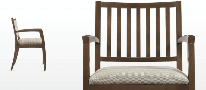 2 Brown Slatted Upholstered Wood Guest Chair